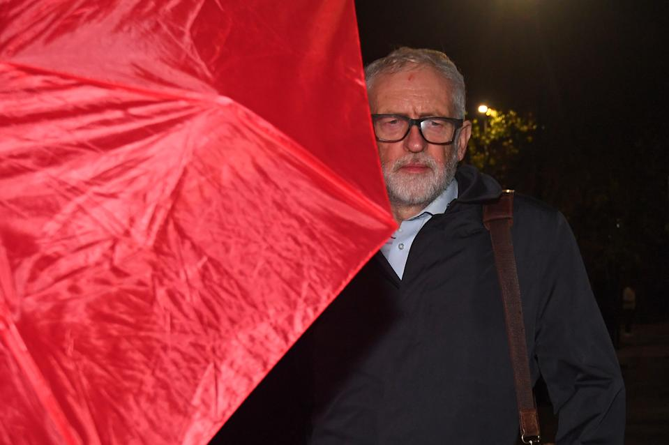 Former Labour leader Jeremy Corbyn arrives at his house in North London. Mr Corbyn has been suspended from the party after the Equality and Human Rights Commission found it broke equality law in its handling of anti-Semitism. (Photo by Victoria Jones/PA Images via Getty Images)