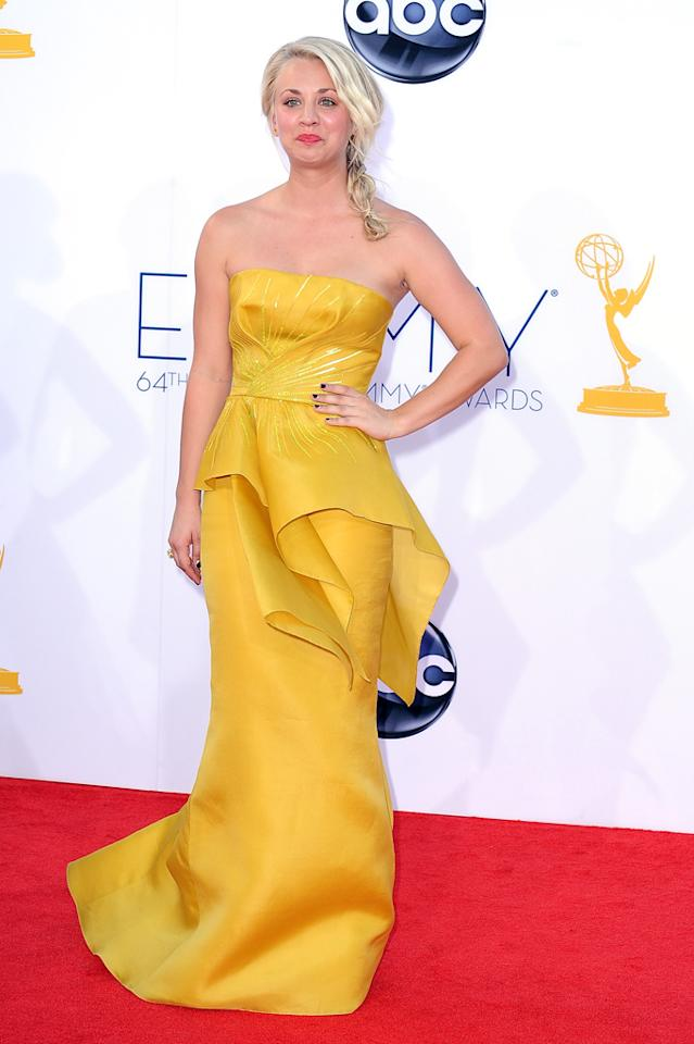 Kaley Cuoco arrives at the 64th Primetime Emmy Awards at the Nokia Theatre in Los Angeles on September 23, 2012.