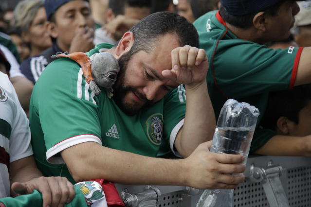 <p>A Mexico soccer fans reacts to Brazil's goal during a live broadcast of the Russia World Cup game in Mexico City's Zocalo plaza, Monday, July 2, 2018. (AP Photo/Anthony Vazquez) </p>