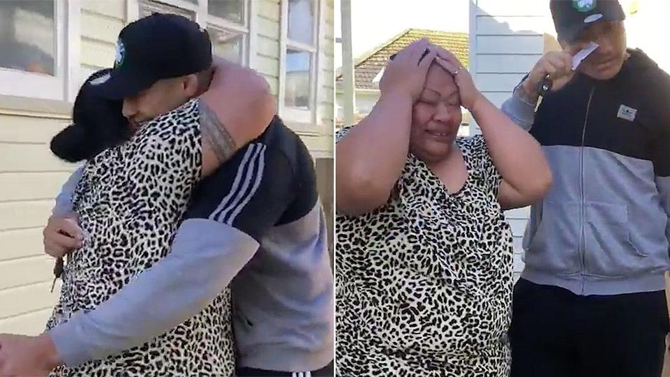 Penrith player Moses Leota brought his mum to tears after surprising her with a new car. Pic: Penrith Panthers