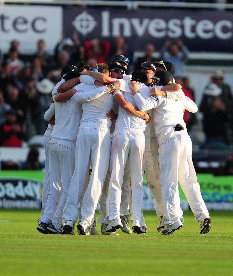 England players celebrates victory over Australia during day four of the Fourth Investec Ashes test match at the Emirates Durham ICG, Durham.