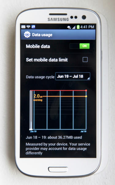 This June 19, 2012 photo shows the data usage screen on Samsung's new Galaxy S III phone, in New York. The Galaxy S III, which looks and feels like an oversized iPhone, is available next week. (AP Photo/Bebeto Matthews)
