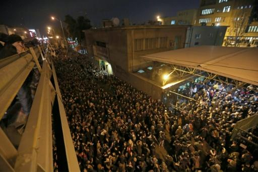 Iranian students demonstrate in front of Amir Kabir University in the capital Tehran