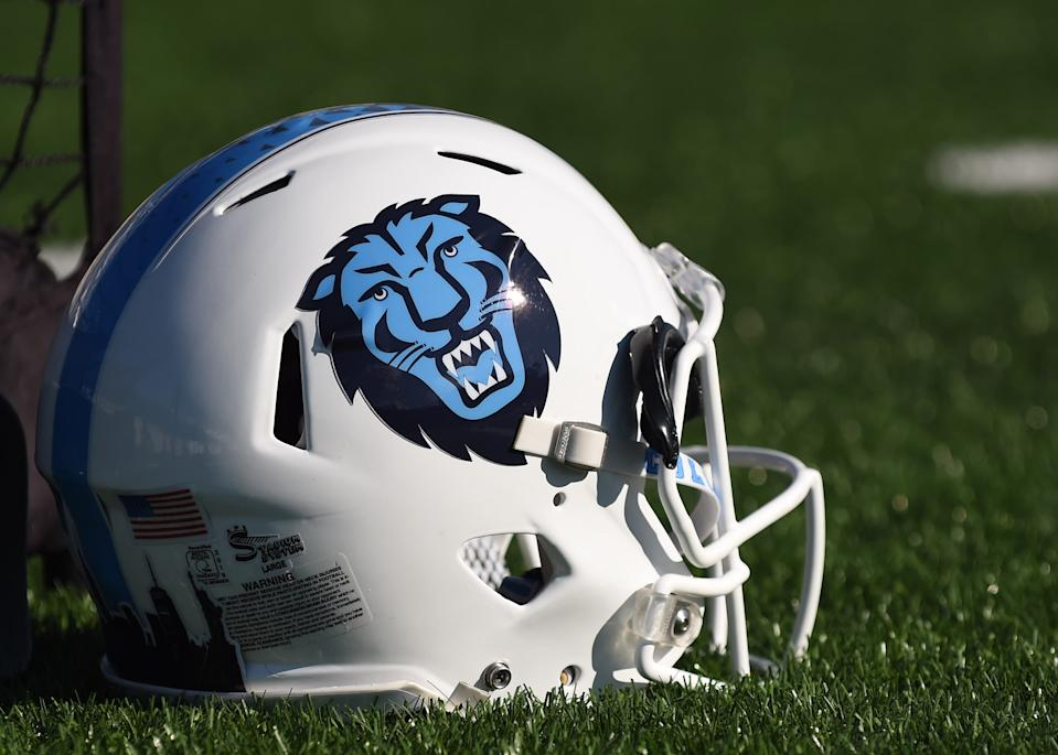NEW HAVEN, CT - NOVEMBER 02: A view of the Columbia Lions helmet during the game as the Columbia Lions take on the Yale Bulldogs on November 2, 2019, at Yale Bowl in New Haven, Connecticut. (Photo by Williams Paul/Icon Sportswire via Getty Images)