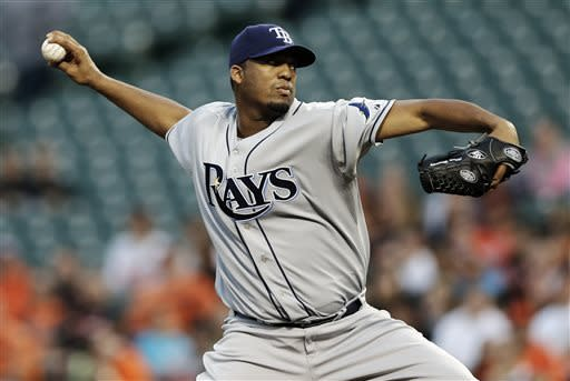 Tampa Bay Rays starting pitcher Roberto Hernandez throws to the Baltimore Orioles in the first inning of a baseball game on Tuesday, April 16, 2013, in Baltimore. (AP Photo/Patrick Semansky)