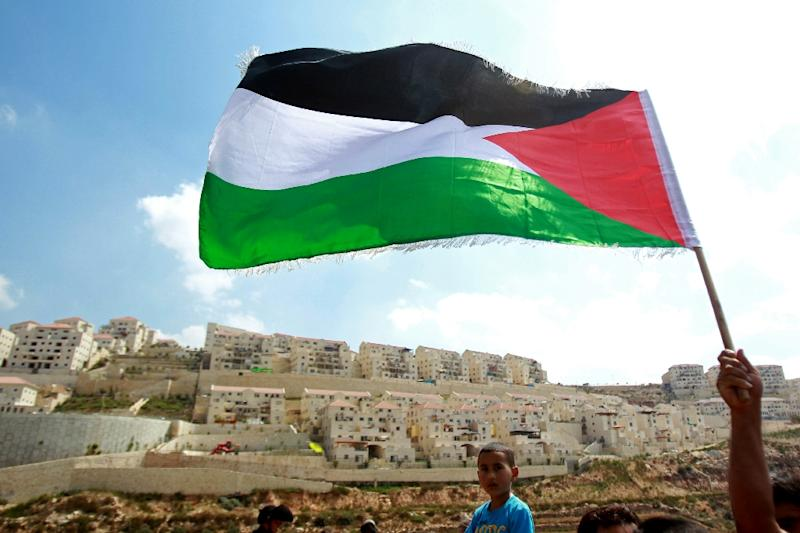 A Palestinian protester waves a national flag in front of the Israeli settlement of Beitar Illit (background), near the West Bank village of Wadi Fukin, on September 5, 2014