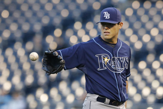 Tampa Bay Rays starting pitcher Matt Moore during a baseball game against the Kansas City Royals at Kauffman Stadium in Kansas City, Mo., Monday, April 7, 2014. (AP Photo/Orlin Wagner)