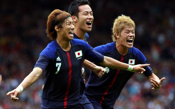 GLASGOW, SCOTLAND - JULY 26:   Yuki Otsu of Japan celebrates after scoring against Spain during the Men's Football first round Group D Match of the London 2012 Olympic Games between Spain and Japan at Hampden Park on July 26, 2012 in Glasgow, Scotland.  (Photo by Stanley Chou/Getty Images)