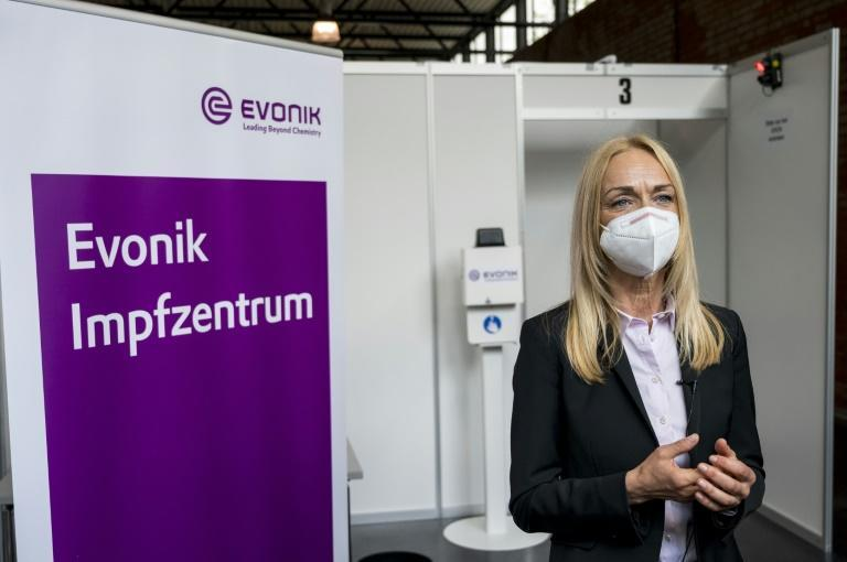 The makeshift vaccination centre at chemicals group Evonik's Hanau site, near Frankfurt, is one of several pilot projects in Germany
