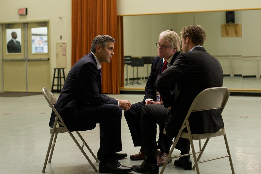 """<a href=""""http://movies.yahoo.com/movie/contributor/1800019715"""">George Clooney</a>, <a href=""""http://movies.yahoo.com/movie/contributor/1800021779"""">Philip Seymour Hoffman</a> and <a href=""""http://movies.yahoo.com/movie/contributor/1804035474"""">Ryan Gosling</a> in Columbia Pictures' <a href=""""http://movies.yahoo.com/movie/1810155680/info"""">The Ides of March</a> - 2011"""