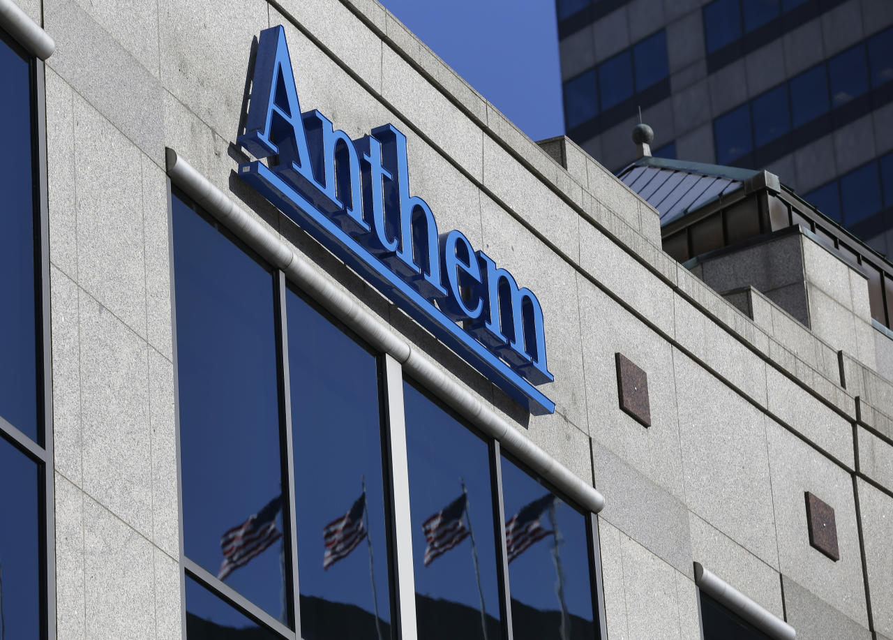 FILE - In this Feb. 5, 2015, file photo, the Anthem logo hangs at the health insurer's corporate headquarters in Indianapolis. Federal officials say the nation's second-largest health insurer will pay the government a record $16 million to settle potential violations of privacy requirements in a 2015 case that still stands the biggest health care hack in U.S. history. (AP Photo/Michael Conroy, File)