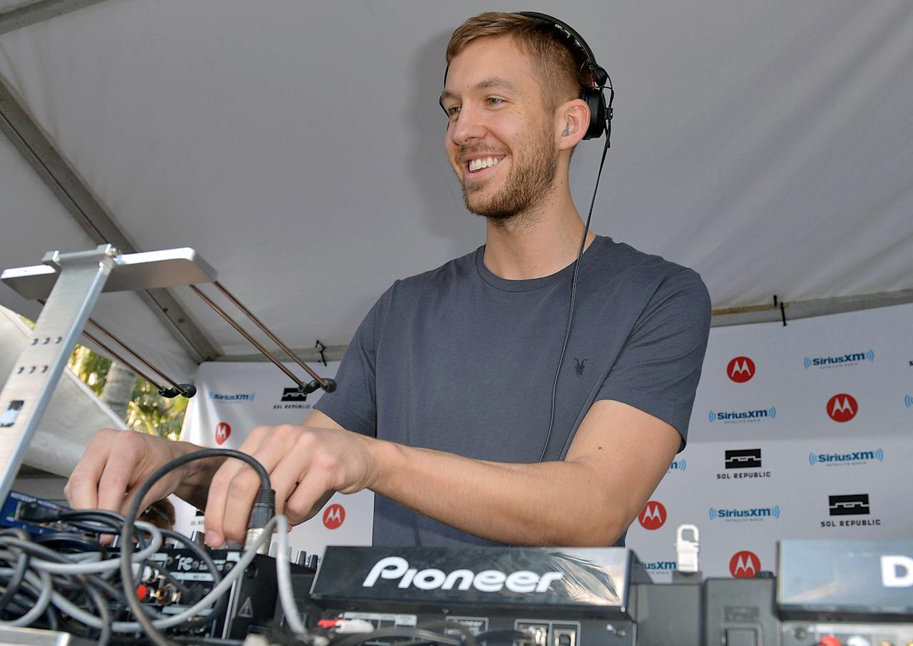 "DJ Calvin Harris performs live on SiriusXM's ""UMF Radio"" at the SiriusXM Music Lounge at W Hotel on March 21, 2013 in Miami, Florida.  (Photo by Gustavo Caballero/Getty Images for SiriusXM)"