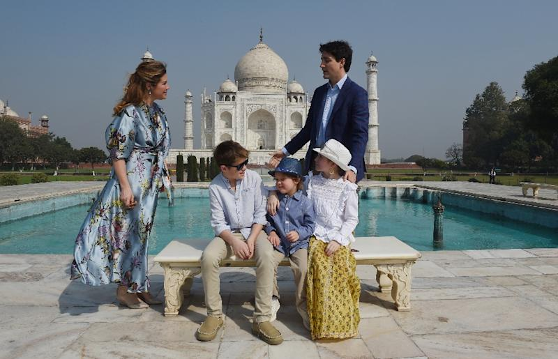 Trudeau, his wife and their children pose for a photograph during their visit to the Taj Mahal