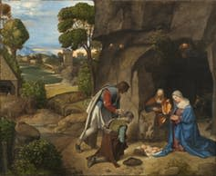 """<span class=""""caption"""">Did Mary give birth in a cave? Giorgione Adoration of the Shepherds, National Gallery of Art.</span> <span class=""""attribution""""><span class=""""source"""">Wikimedia</span></span>"""