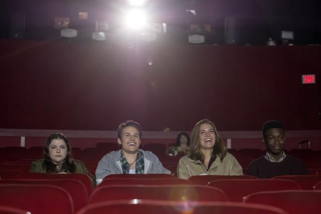 <p>From left: Hannah Zeile as Kate age 15, Logan Shroyer as Kevin age 15, Mandy Moore as Rebecca Pearson, and Niles Fitch as Randall age 15 in NBC's <i>This Is Us</i>.<br>(Photo: Ron Batzdorff/NBC) </p>