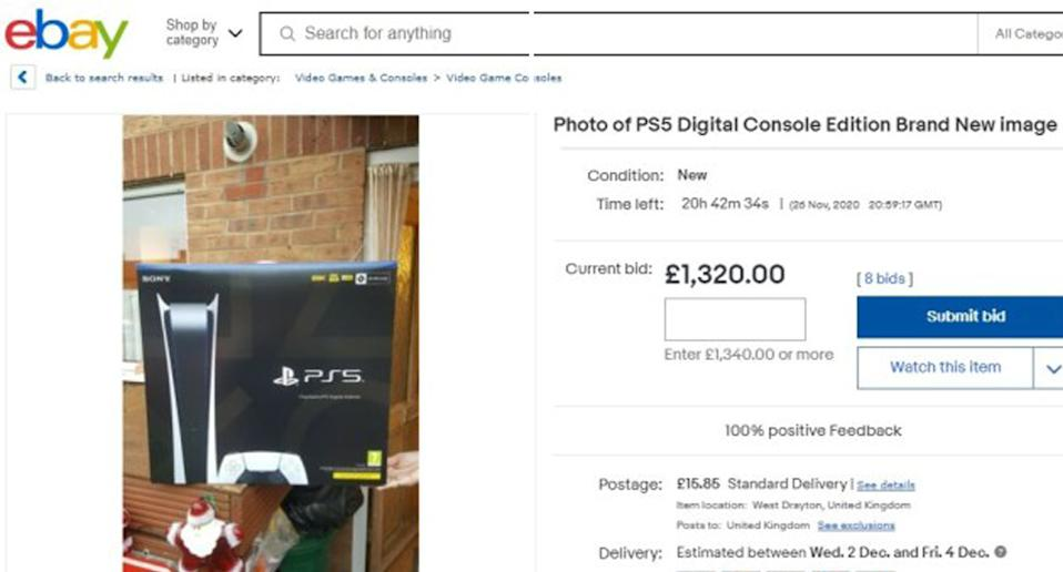 A eBay listing shows a PS5 image for sale  with bids over $2394 AUD