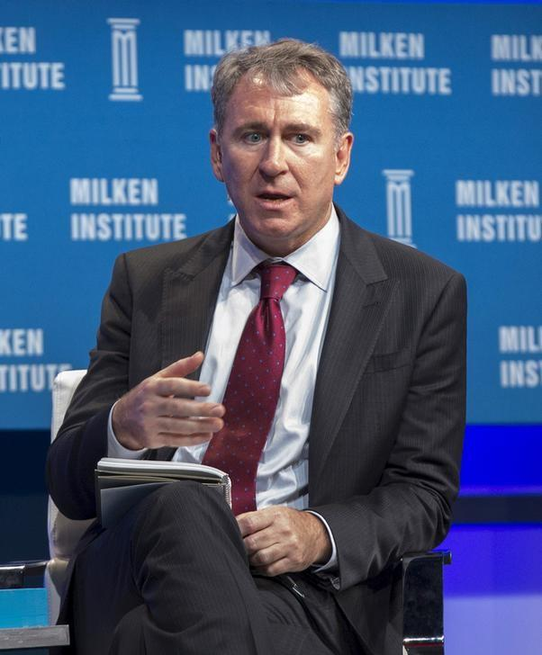 Griffin, CEO of Citadel, takes part in a panel during the Milken Institute Global Conference in Beverly Hills