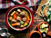 """<p><a href=""""https://www.thedailymeal.com/make-ahead-meals-you-can-freeze?referrer=yahoo&category=beauty_food&include_utm=1&utm_medium=referral&utm_source=yahoo&utm_campaign=feed"""" rel=""""nofollow noopener"""" target=""""_blank"""" data-ylk=""""slk:Comfort food"""" class=""""link rapid-noclick-resp"""">Comfort food</a> done Mexican style. On a chilly or gloomy day, nothing beats albóndigas — ground beef meatballs made with tomato, garlic and more all seeped in a clear vegetable broth. Squeeze in a hint of lime, put on your <em>chanclas</em> (house shoes) and call it <a href=""""https://www.theactivetimes.com/home/learn-new-hobby-at-home-guitar-language?referrer=yahoo&category=beauty_food&include_utm=1&utm_medium=referral&utm_source=yahoo&utm_campaign=feed"""" rel=""""nofollow noopener"""" target=""""_blank"""" data-ylk=""""slk:a productive night in"""" class=""""link rapid-noclick-resp"""">a productive night in</a>. </p> <p><strong><a href=""""https://www.thedailymeal.com/best-recipes/albondigas-mexican-meatball-soup?referrer=yahoo&category=beauty_food&include_utm=1&utm_medium=referral&utm_source=yahoo&utm_campaign=feed"""" rel=""""nofollow noopener"""" target=""""_blank"""" data-ylk=""""slk:For the Albóndigas recipe, click here."""" class=""""link rapid-noclick-resp"""">For the Albóndigas recipe, click here. </a></strong></p>"""