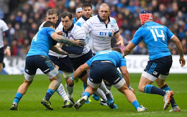<span>Scotland's Tim Visser takes the ball into contact</span> <span>Credit: Stu Forster/Getty Images </span>