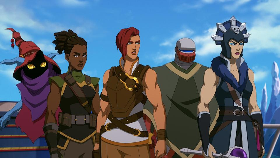 """Orko (Griffin Newman), Andra (Tiffany Smith), Teela (Sarah Michelle Gellar), Roboto (Justin Long) and Evil-Lyn (Lena Headey) in """"Masters of the Universe: Revelation."""" - Credit: Courtesy of Netflix"""