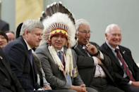 Canada's Prime Minister Stephen Harper, Assembly of First Nations National Chief Perry Bellegarde, Justice Murray Sinclair, and Governor General David Johnston attend the Truth and Reconciliation Commission of Canada's closing ceremony at Rideau Hall in Ottawa June 3, 2015. REUTERS/Blair Gable