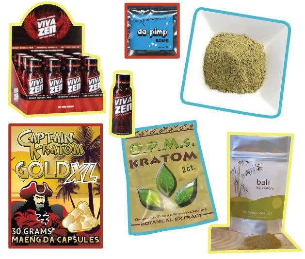 An assortment of kratom products. Consumers say theherbal drug can be used to treat a variety of ailments,including chronic pain, anxiety and opioid addiction. (Photo: Alissa Scheller)
