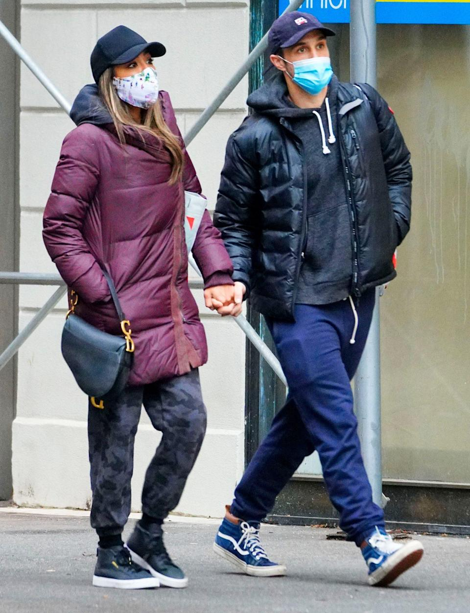 <p>Tayshia Adams and Zac Clark bundle up in N.Y.C. on Sunday to go shopping together.</p>
