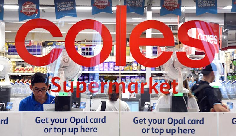 People are shopping at a Coles supermarket in the central business district of Sydney on March 16, 2018. Australian supermarket chain Coles will be spun off into a separate entity by owner Wesfarmers, the company said on March 16, amid a shake-up in the food retail sector as new entrants threaten a longstanding duopoly. / AFP PHOTO / William WEST (Photo credit should read WILLIAM WEST/AFP via Getty Images)