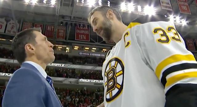 Hurricanes head coach Rod Brind'Amour (left) and Bruins' Zdeno Chara chat after Boston swept Carolina in the Eastern Conference Final on Thursday night. (Twitter//@NHLonNBCSports)