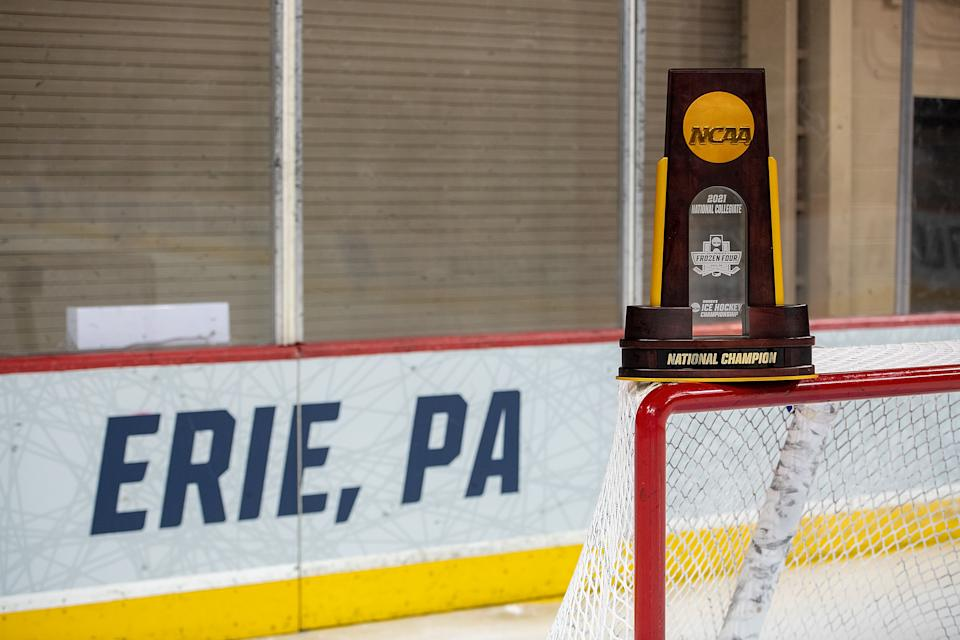 ERIE, PA - MARCH 20: The NCAA Championship Trophy is seen before the Division I Womens Ice Hockey Championship game between the Northeastern Huskies and the Wisconsin Badgers held at Erie Insurance Arena on March 20, 2021 in Erie, Pennsylvania. (Photo by Justin Berl/NCAA Photos/NCAA Photos via Getty Images)