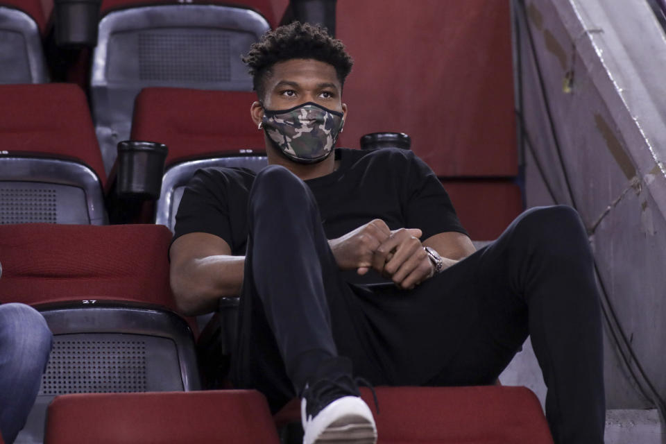Giannis Antetokounmpo, basketball player for the Milwaukee Bucks of the National Basketball Association (NBA), attends the 2020/2021 Turkish Airlines EuroLeague Regular Season Round 6 match between Olympiacos Piraeus and Anadolu Efes Istanbul.