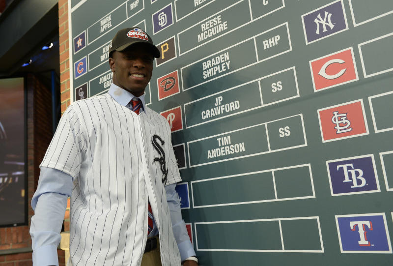 The White Sox took Tim Anderson with the 17th overall pick of the 2013 MLB draft after he batted .495 at East Central Community College in Mississippi. (Photo by Jeff Zelevansky/Getty Images)