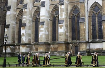 Judges from the Supreme Court process to Westminster Abbey for a service to mark the beginning of the legal year