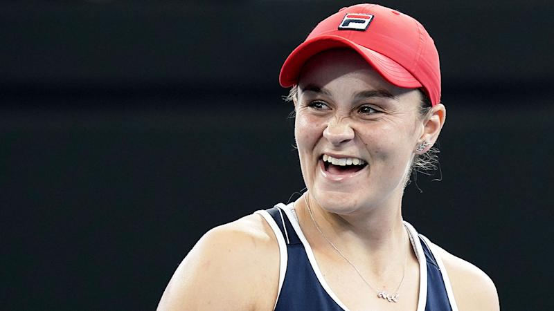 Seen here, Ash Barty has hailed Australia's health care workers as the 'unsung heroes' in the coronavirus fight.