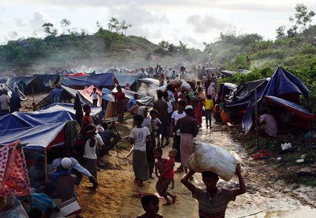 Rohingya refugees are seen at Thaingkhali makeshift refugee camp in Cox's Bazar
