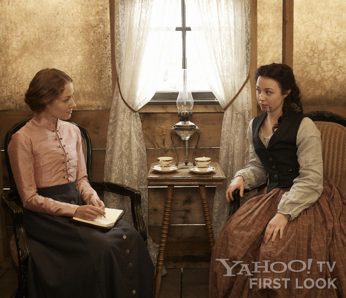 "Louise Ellison (Jennifer Ferrin) and Eva (Robin McLeavy) in AMC's ""Hell on Wheels"" Season 3."
