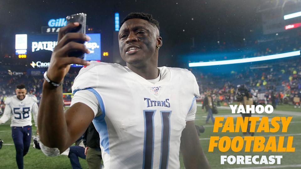 Tennessee Titans wide receiver A.J. Brown on his phone after a game. (Photo by Elsa/Getty Images)