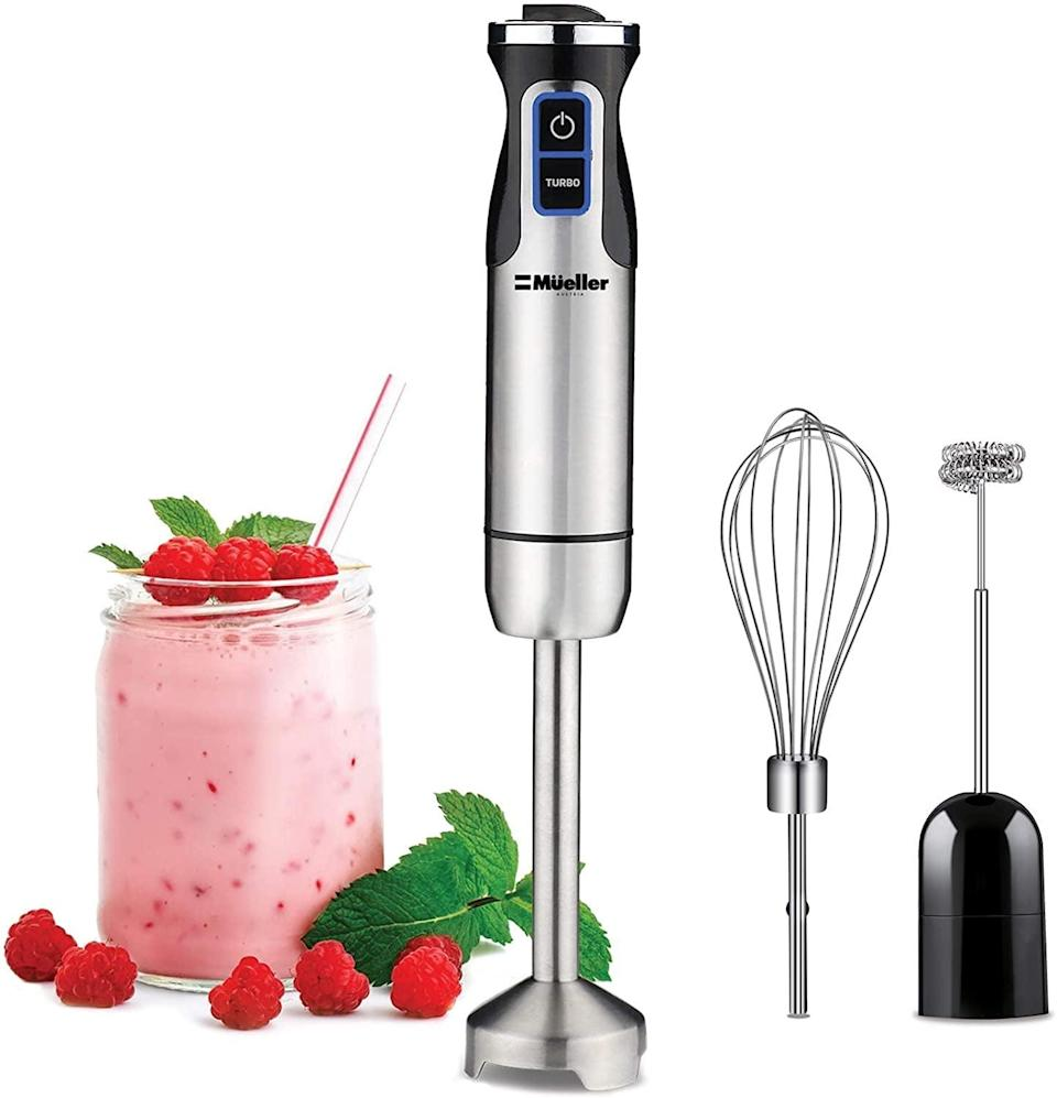 <p>The <span>Mueller Austria Ultra-Stick 500 Watt 9-Speed Immersion Multi-Purpose Hand Blender</span> ($30, originally $45) lets you whisk, froth, and blend all in one tool. </p>