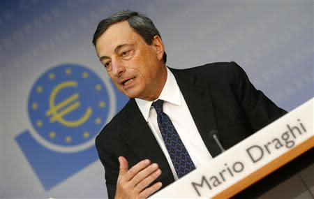 European Central Bank President Draghi addresses the monthly ECB news conference in Frankfurt