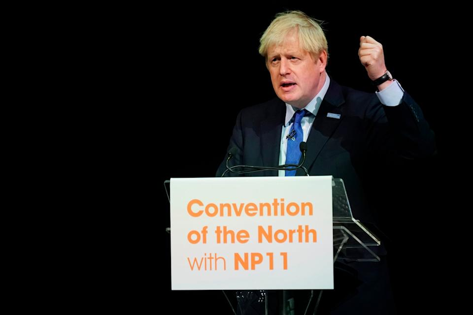 Boris Johnson speaks at the 'convention of the north' in Rotherham (Christopher Furlong/Getty Images)