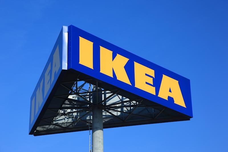 Lodz, Poland - March, 4 2011: The IKEA logo is shown outside the company's store. Swedish furniture company