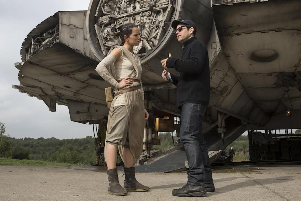 Daisy Ridley and J.J. Abrams on the set of Star Wars (Credit: Lucasfilm)