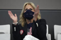 First Lady of the United States Jill Biden watches the swimming competition at the 2020 Summer Olympics, Saturday, July 24, 2021, in Tokyo. (AP Photo/Matthias Schrader)