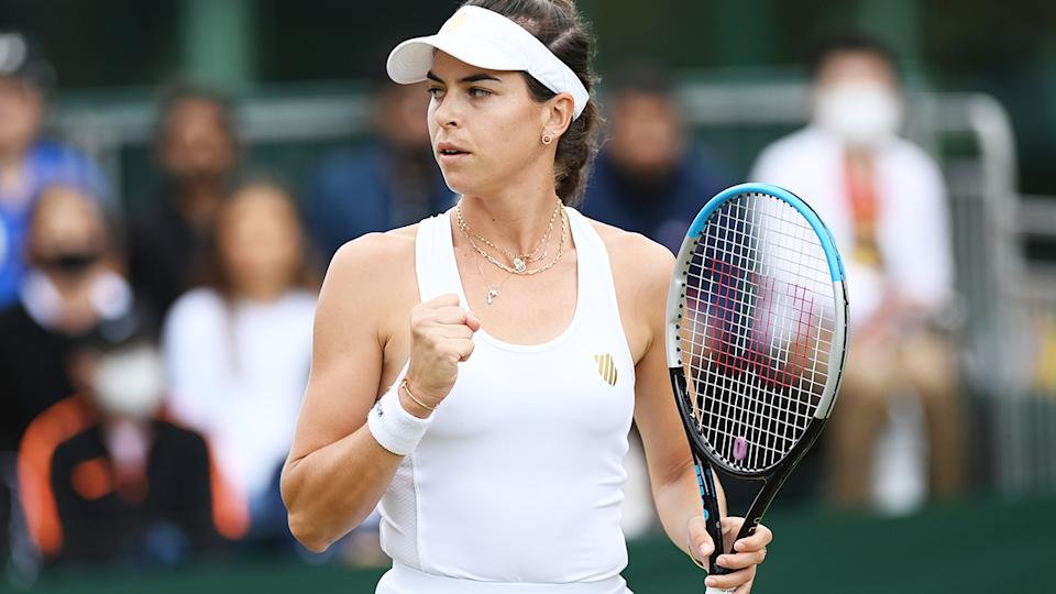 Ajla Tomljanovic, pictured here in action against Jelena Ostapenko at Wimbledon.