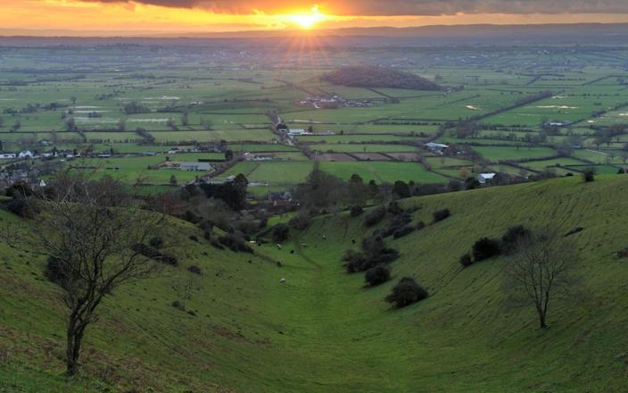 The Brue Valley, home to Ben Goldsmith's working farm