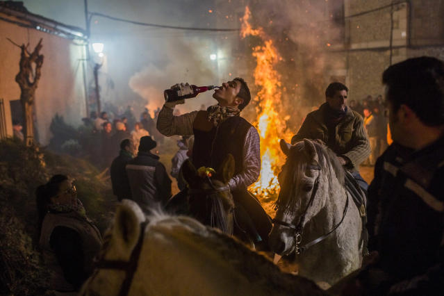 <p>A rider drinks wine next to a bonfire during a ritual in honor of St. Anthony the Abbot, the patron saint of domestic animals, in San Bartolomé de Pinares, about 62 miles west of Madrid, Jan. 16, 2015. (AP Photo/Andres Kudacki) </p>