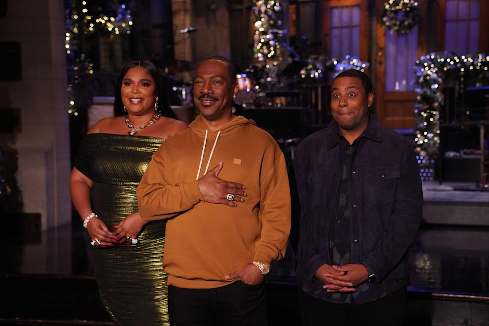 Lizzo, Eddie Murphy and Kenan Thompson on Saturday Night Live. (Photo: Rosalind O'Connor/NBC)