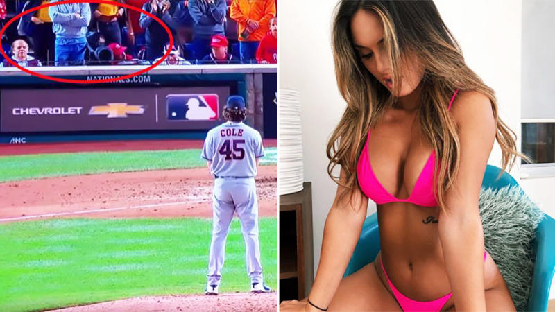 The models, pictured here flashing Gerrit Cole at the World Series.