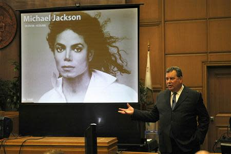Brian Panish, attorney for the Michael Jackson family delivers his closing argument to jurors in packed courtroom in Los Angeles