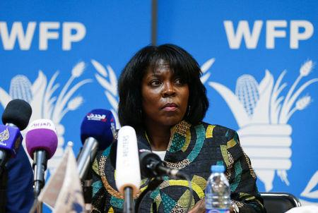 Ertharin Cousin, Executive Director of the United Nations World Food Programme, speaks during a news conference in Amman